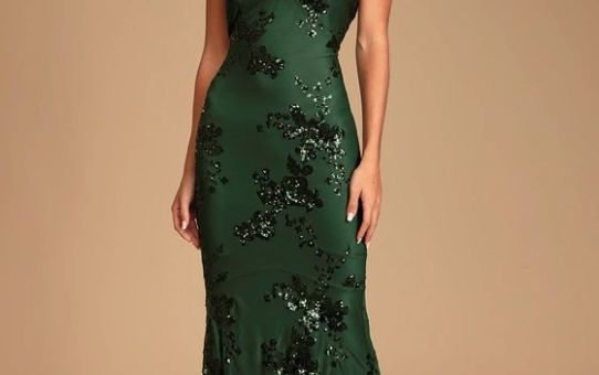 Valhalla Forest Green Sequin Lace-Up Maxi Dress
