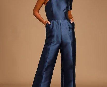 Divine Dream Navy Blue Satin One-Shoulder Culotte Jumpsuit