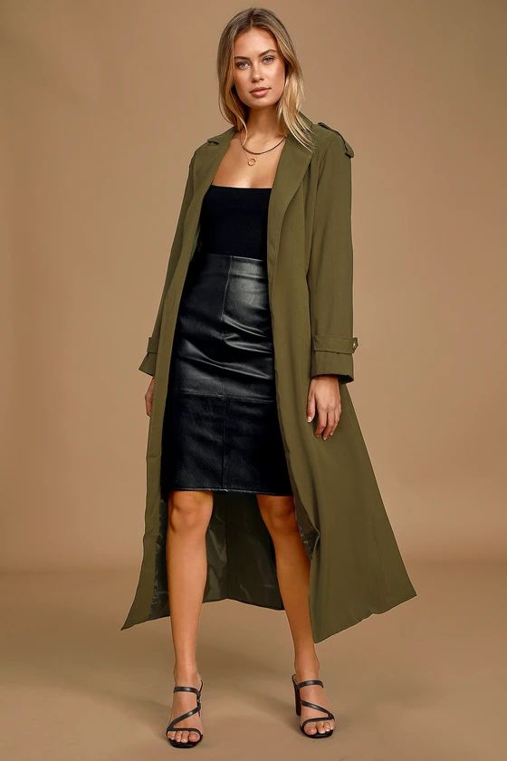 Take Cover Olive Green Belted Trench Coat