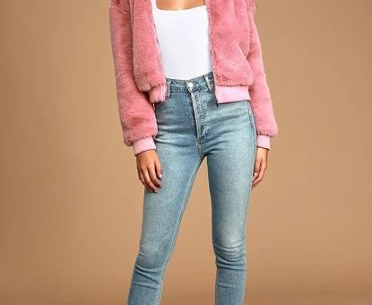 Count Me In Mauve Pink Faux Fur Hooded Bomber Jacket