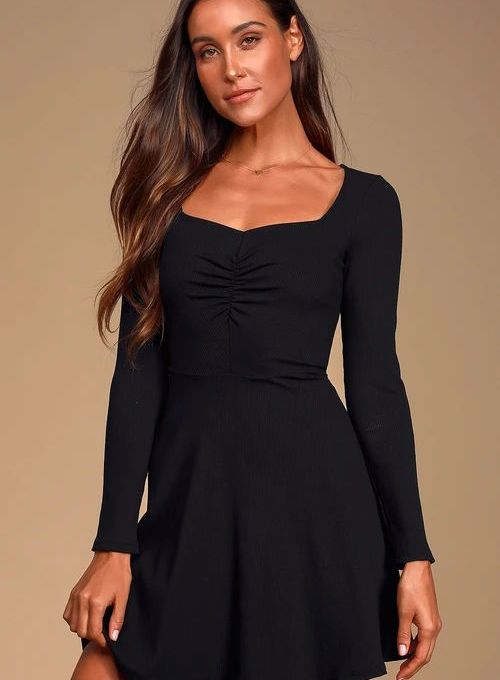 Putting it Simply Black Ribbed Long Sleeve Skater Dress