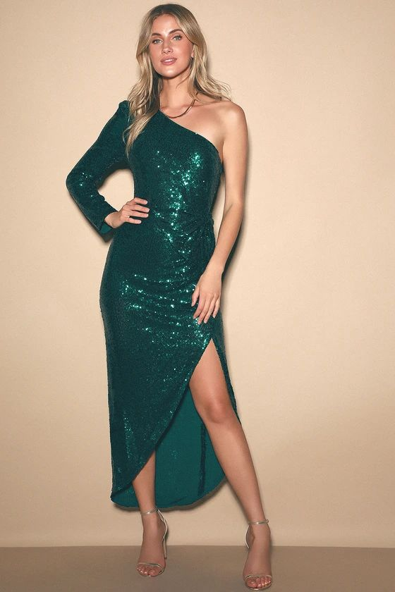 Glitz and Glamour Emerald Green Sequin One-Shoulder Maxi Dress
