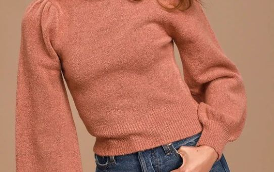 Piece of My Heart Rusty Rose Mock Neck Puff Shoulder Sweater