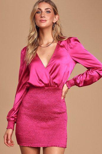 Jaw-Dropping Beauty Magenta Satin Smocked Bodycon Mini Dress