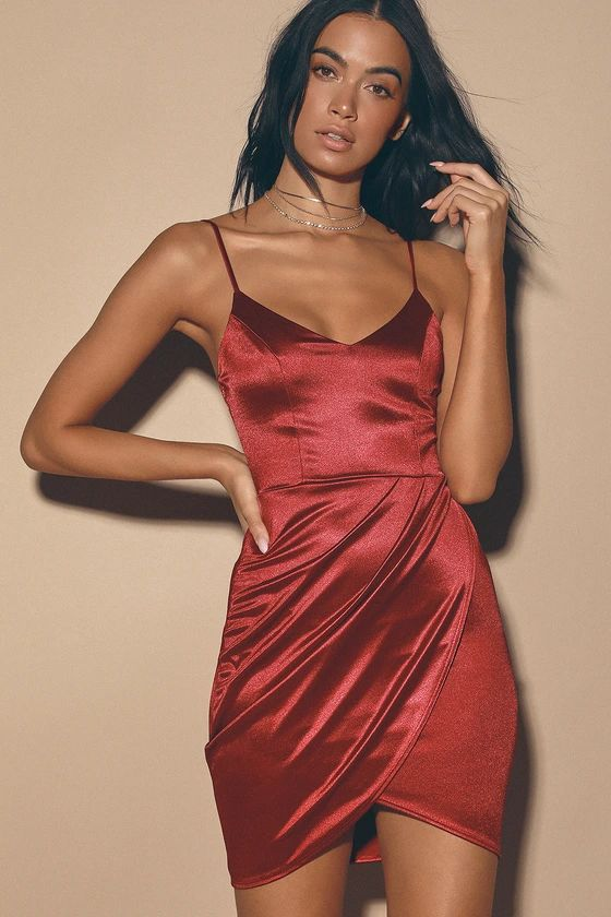 CRAZY DEALS- Forever Your Girl Wine Red Satin Bodycon Dress