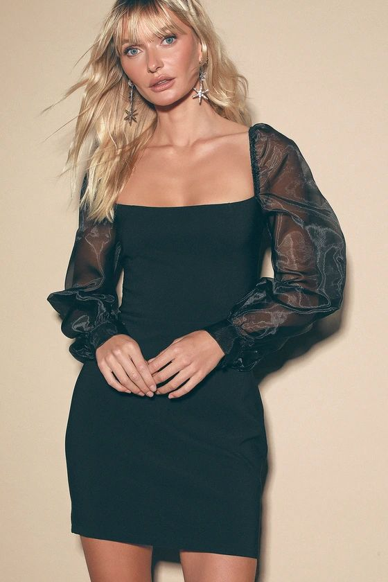 Sheer You Are Black Puff Sleeve Mini Dress