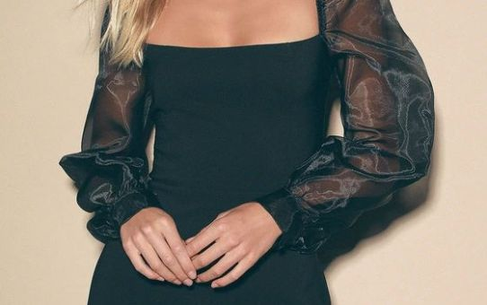 Sheer You Are Black Puff Sleeve Mini Dress