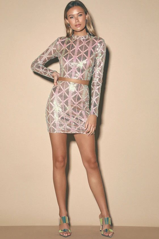 Love Like No Other Pink Iridescent Sequin Mini Skirt