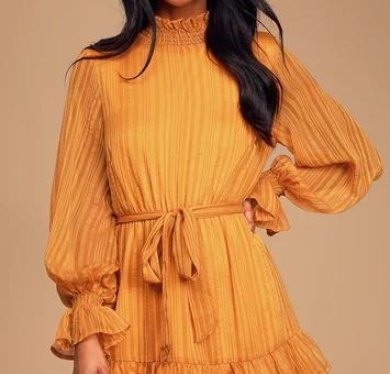 Sweetest Memories Marigold Yellow Ruffled Long Sleeve Dress
