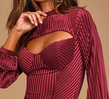Always Alluring Burgundy Striped Velvet Cutout Bustier Bodysuit