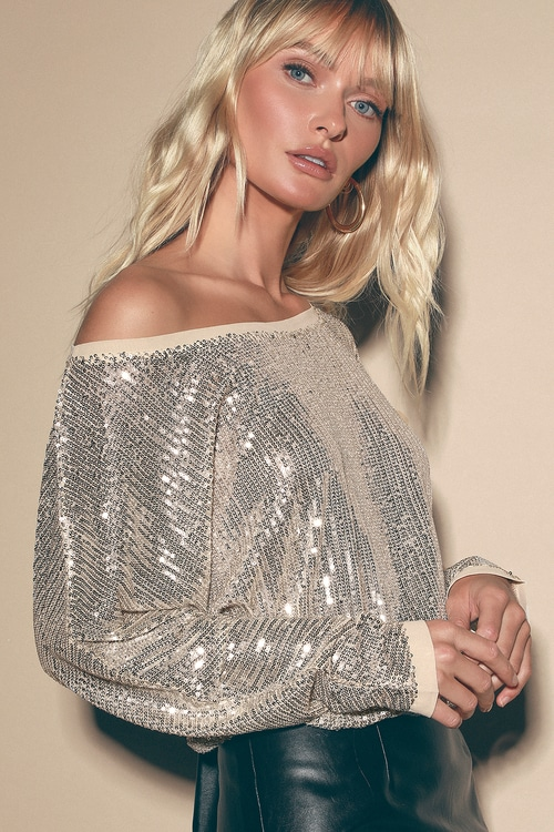 Sequins of Events Silver Dolman Sleeve Top