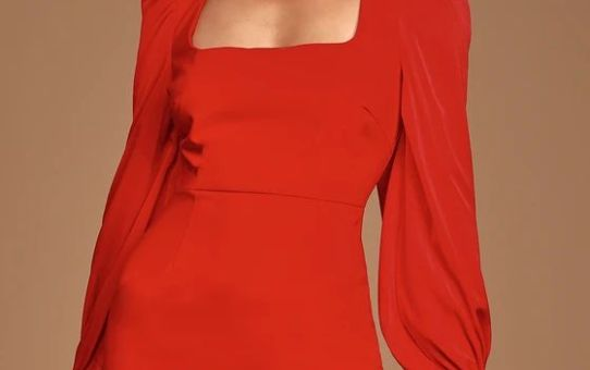 Black Friday Sale- Longtime Crush Red Puff Shoulder Long Sleeve Mini Dress