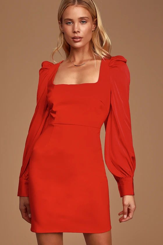 Longtime Crush Red Puff Shoulder Long Sleeve Mini Dress