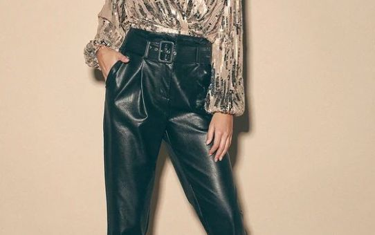 Primadonna Champagne and Silver Sequin Long Sleeve Top