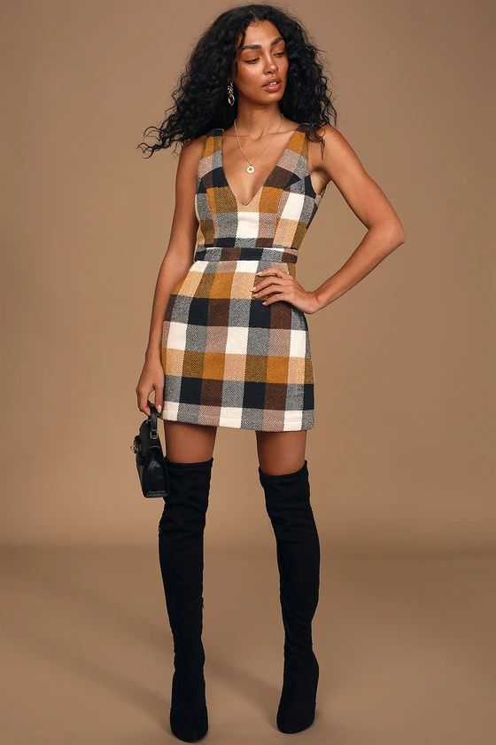 Forever Classic Orange Multi Plaid Sleeveless Mini Dress