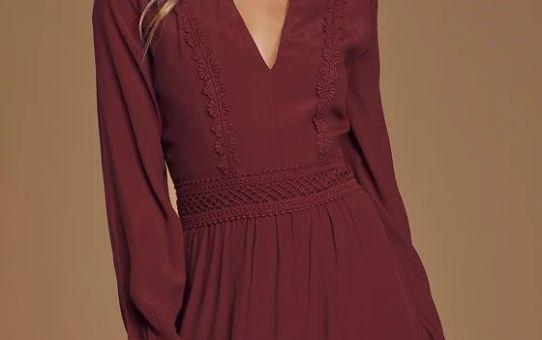 Fall For Me Burgundy Long Sleeve Cutout Skater Dress