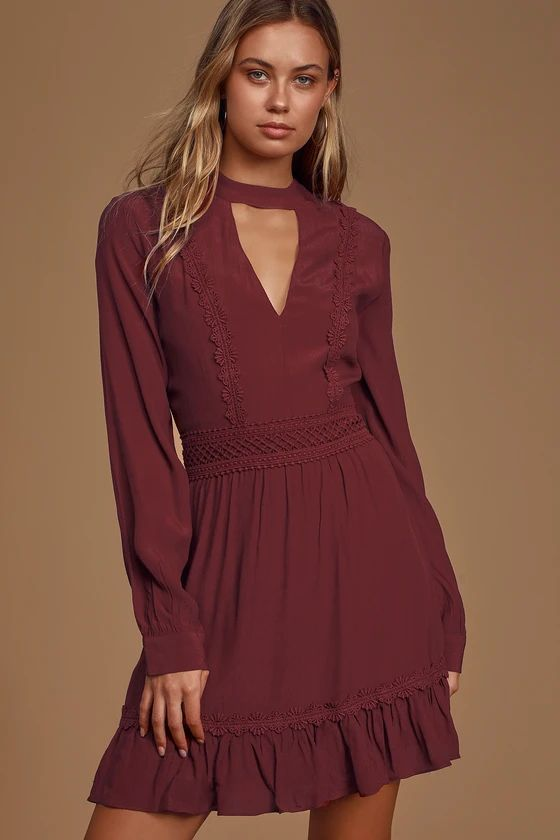 Fall For Me Burgundy Long Sleeve Cutout Skater Dress