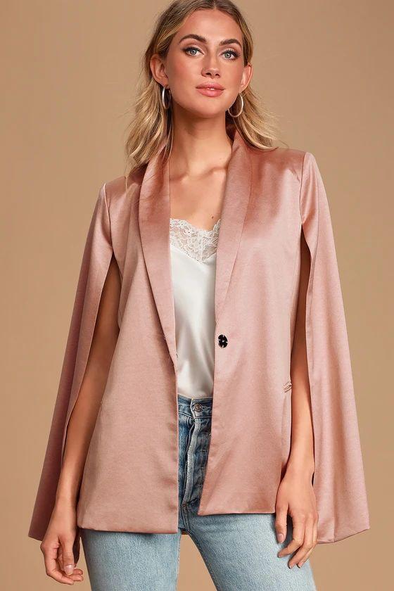 Dressed Smart Mauve Pink Cape Blazer