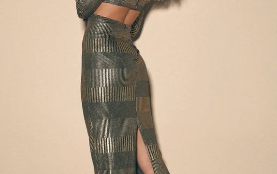 Always a Party Gold Metallic Twist-Front Cutout Midi Dress