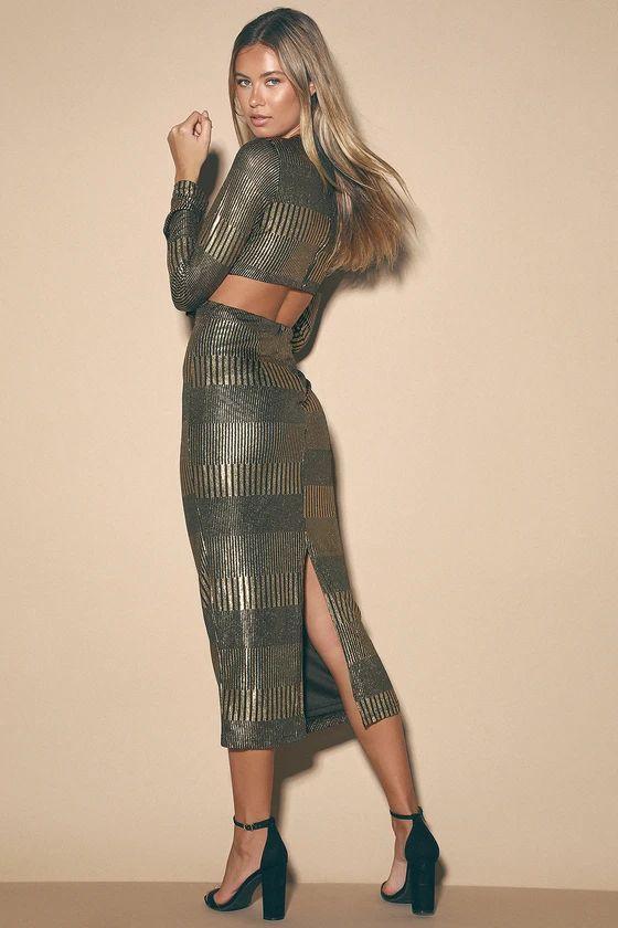 Always a Party Gold Metallic Twist-Front Cutout Midi Dress