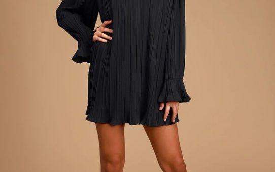 Rise and Shine Black Pleated Long Sleeve Shift Dress