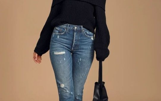 Carmichael Black Off-the-Shoulder Knit Sweater