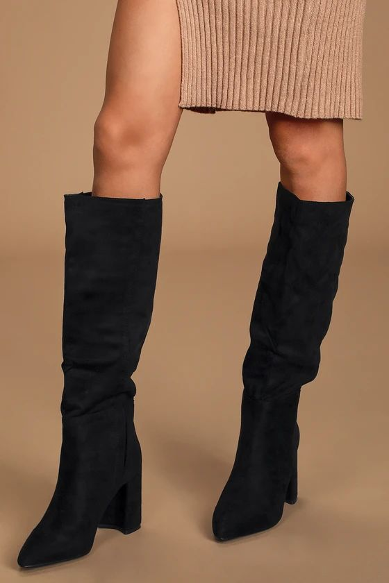 CRAZY DEALS! - Katari Black Suede Pointed-Toe Knee High Boots