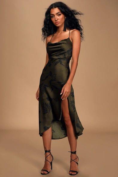 Gaia Olive Green Floral Print Cowl Neck Midi Slip Dress