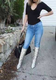 Kinga Natural Snake Pointed-Toe Knee High Boots