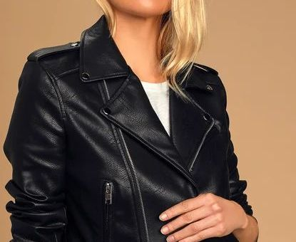 Off The Edge Black Vegan Leather Moto Jacket