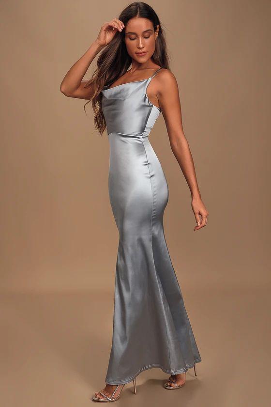 Daring Romance Pastel Blue Satin Cowl Neck Maxi Dress