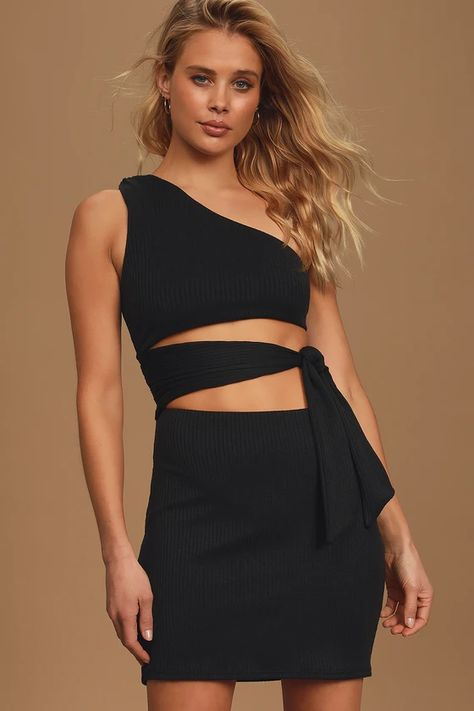 Never Going Home Black One-Shoulder Cutout Bodycon Dress