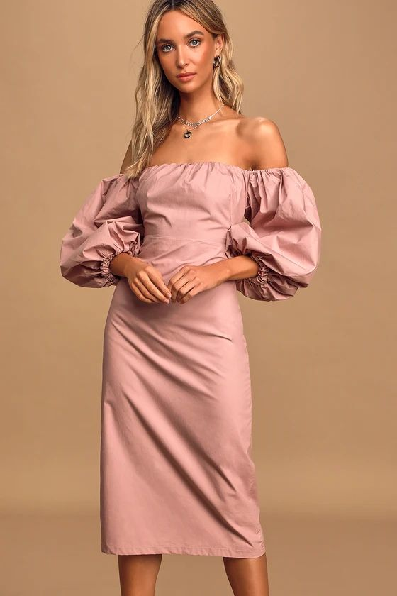 Feel the Love Mauve Off-the-Shoulder Puff Sleeve Midi Dress