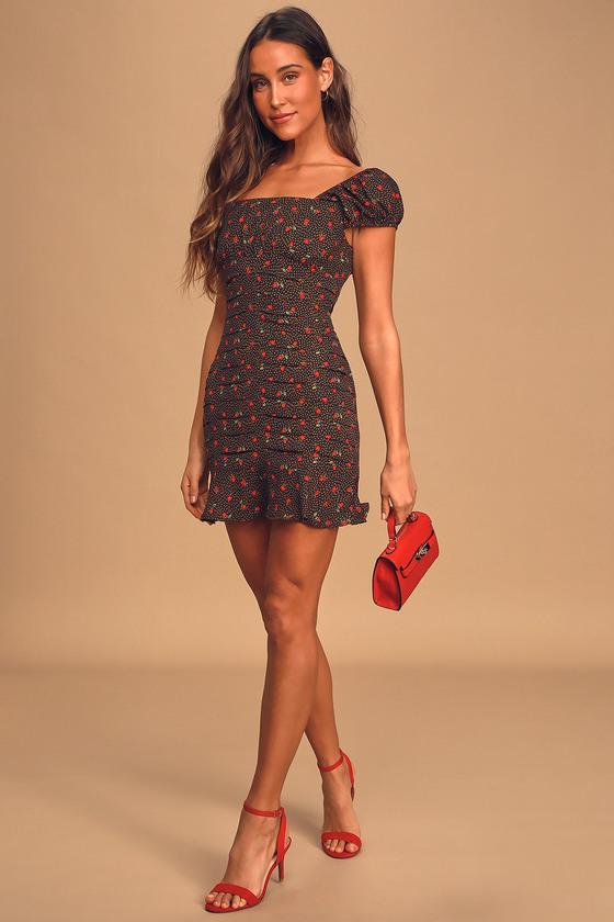 Finding Romance Black Multi Print Pleated Mini Dress