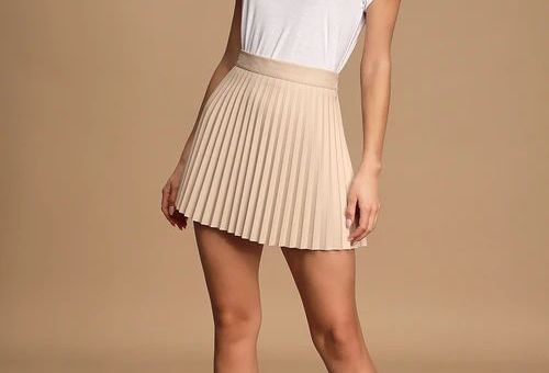 Better Luck Next Time Beige Vegan Leather Pleated Mini Skirt