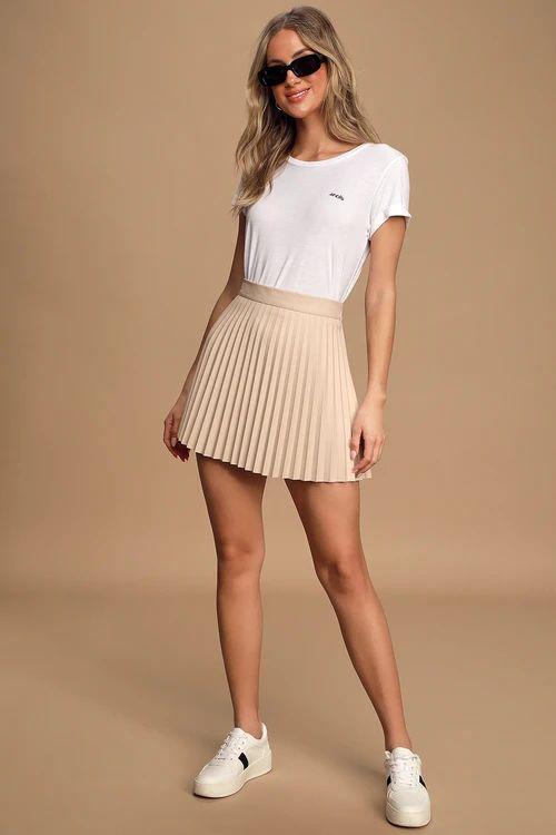 Better Luck Next Time Beige Vegan Leather Pleated Mini Skirt