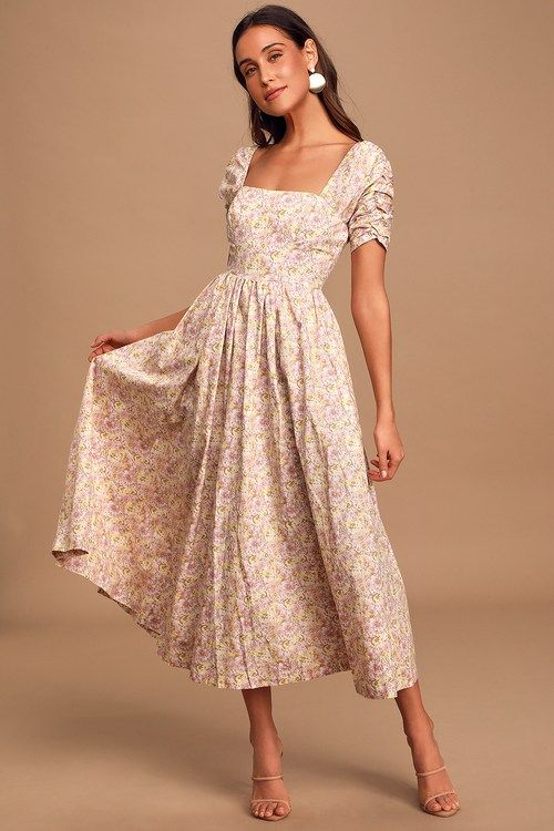 She's A Dream Cream Floral Print Puff Sleeve Midi Dress