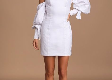 Bronte White Off-The-Shoulder Puff Sleeve Mini Dress