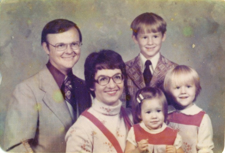 About 1975, my mom, sis, and I are in matching outfits. I think my grandmother made them from scratch--without a pattern. She was cool like that.