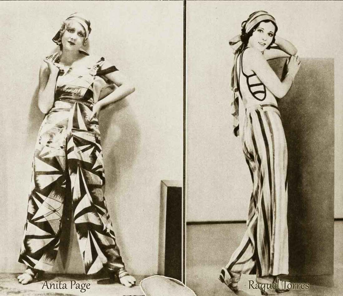 Anita Page, Raquel Torres in November 1930 in Beach Pajamas.