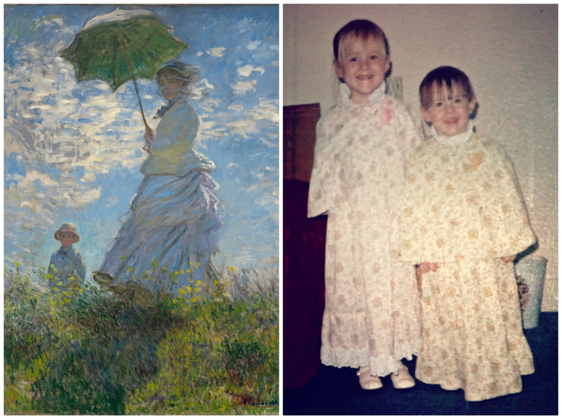 Monet painting and photo of two girls in the 1970s dressed in pastels for Easter.