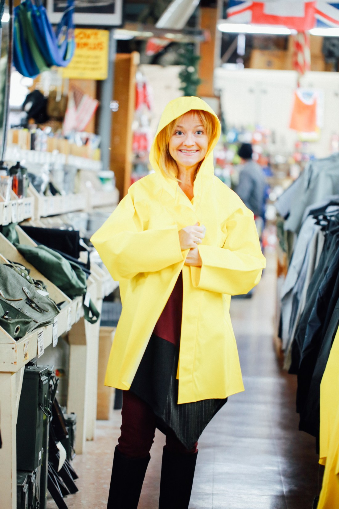 Yellow rain slicker at Federal Army Navy Surplus in Seattle.