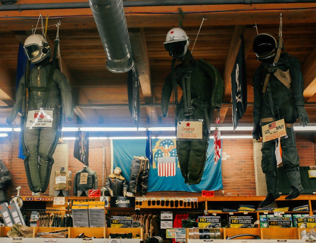 Paratrooper mannequins at the Federal Army Navy Surplus store in Seattle.