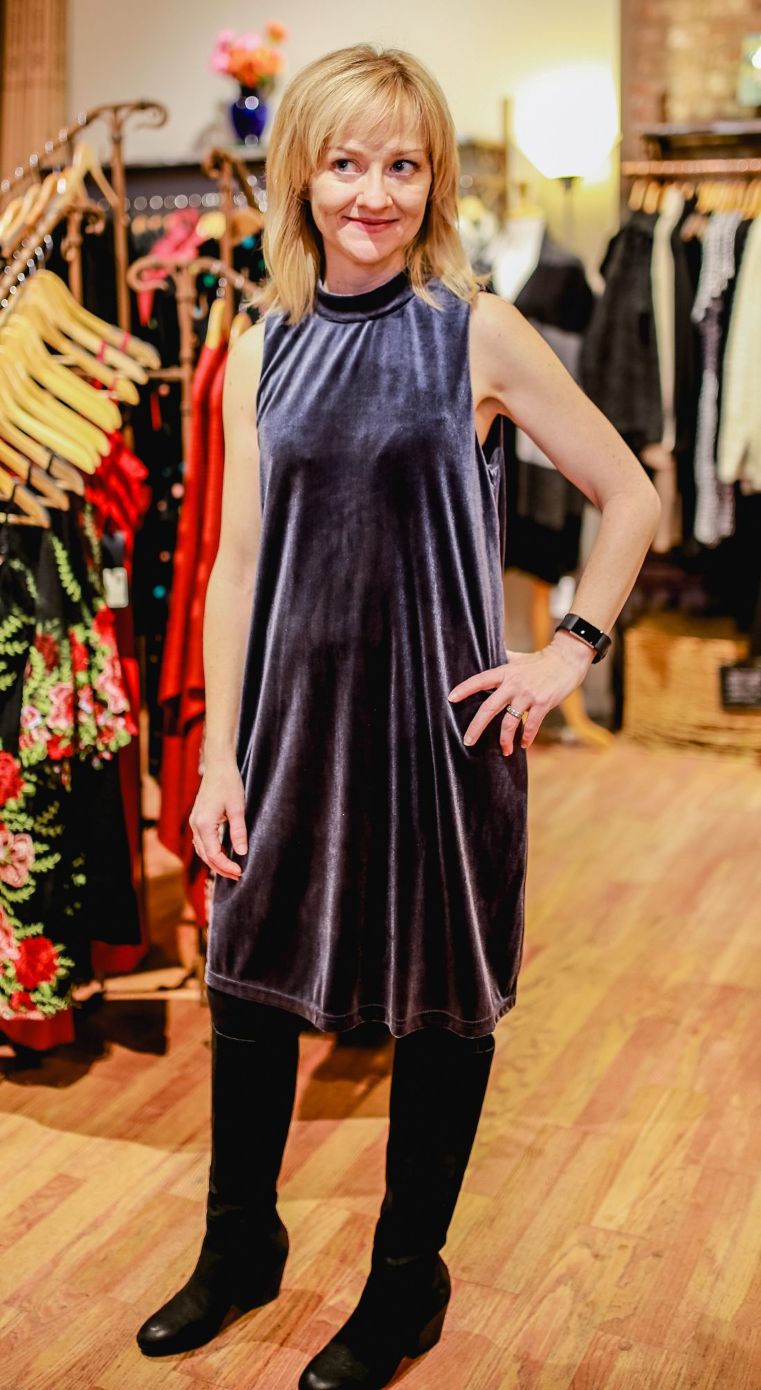 Velvet dress with pockets at Endless Knot in Seattle.