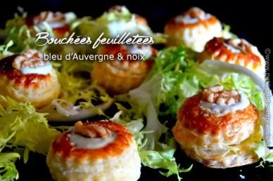Bouchées feuilletées bleu d'Auvergne & noix