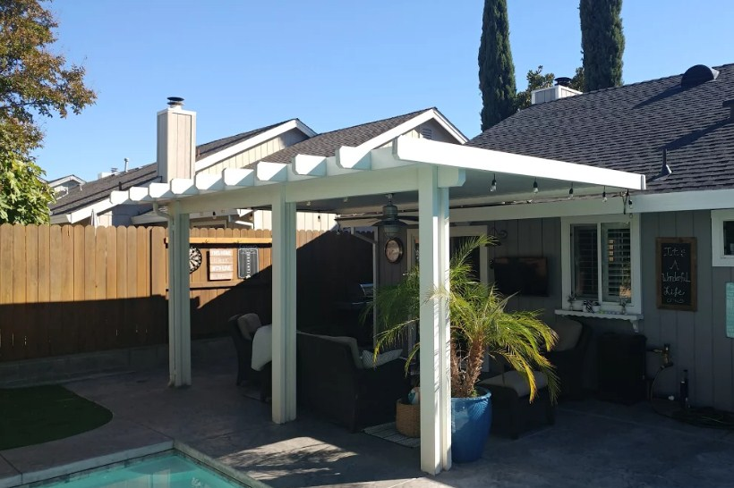 roof attached patio cover no end caps