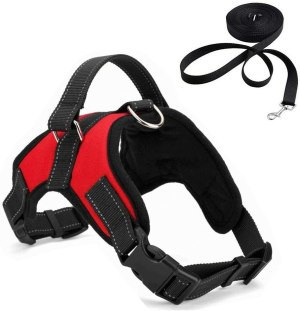 Adjustable No-Pull Dog Harness with Handle,Heavy Duty Oxford Reflective Safety Pet Vest Harnesses for Dogs Outdoor Walking Traveling Training