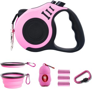 PETIMP Retractable Dog Leash Lightweight Portative 16FT Leash, with Folding Bowl,Dispenser,Rubbish Bags, for Small Medium Dogs