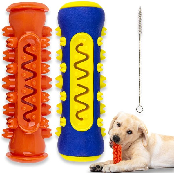 Dog Toothbrush Toys Chew Set - 2 Pcs Dog Toothbrushes Chewable Stick Bone Toy for Small Medium Large Breed Pet Dogs Puppy for Dental Oral Care Teeth Cleaner Self-Brushing Self-Cleaning with Toothpaste