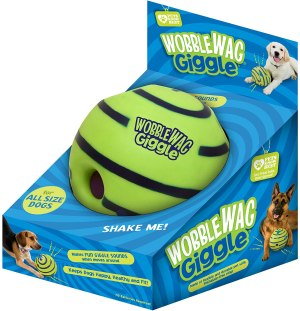 Wobble Wag Giggle Ball, Interactive Dog Toy, Fun Giggle Sounds When Rolled or Shaken, Pets Know Best, As Seen On TV